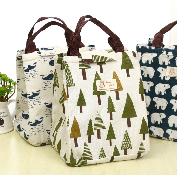 Waterproof Lunch Bag For Women Kids Men Cooler Lunch Box Bag Tote Canvas Lunch Bag Bottle Insulation Package Portable