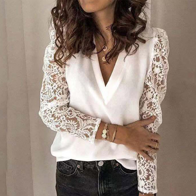 Hollow Out Lace Patchwork Women Blouse Long Puff Sleeve V-neck Female Blouses 2020 Spring Summer Casual Solid Office Lady Tops