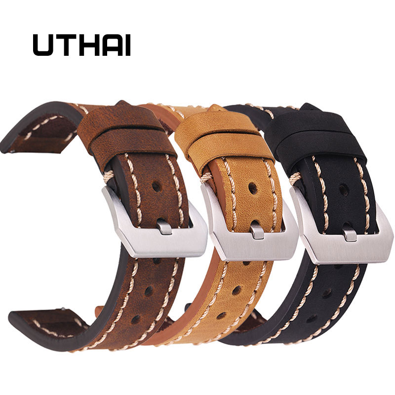 UTHAI Genuine Leather Watch Strap 20MM 22MM 24MM For Samsung Galaxy Watch 42 46mm S2/3 Sport For Amazfit Quick Release WatchBand