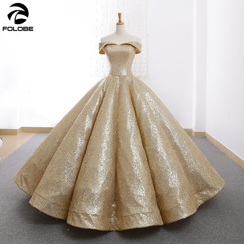 Shiny Gold Ball Gown Quinceanera <font><b>Dress</b></font> Off the Shoulder Pleat Floor length vestido de 15 nos <font><b>sweet</b></font> <font><b>16</b></font> <font><b>dress</b></font> Prom Party <font><b>Dress</b></font> image