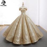 Shiny Gold Ball Gown Quinceanera Dress Off the Shoulder Pleat Floor length vestido de 15 nos sweet 16 dress Prom Party Dress