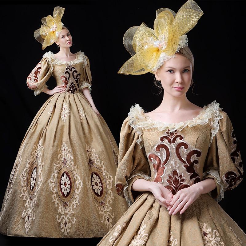 Robes formelles médiévales Renaissance européenne Royal femmes broderie Court Costume robe robe de soirée palais scène période gothique