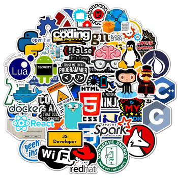 50 PCS Laptop Sticker Programming Technology Software Programs Data Computer Stickers For Geek DIY Computer Laptop Phone For PS4 1