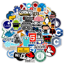 50 PCS Laptop Sticker Programming Technology Software Programs Data Computer Stickers For Geek DIY Computer Laptop Phone For PS4