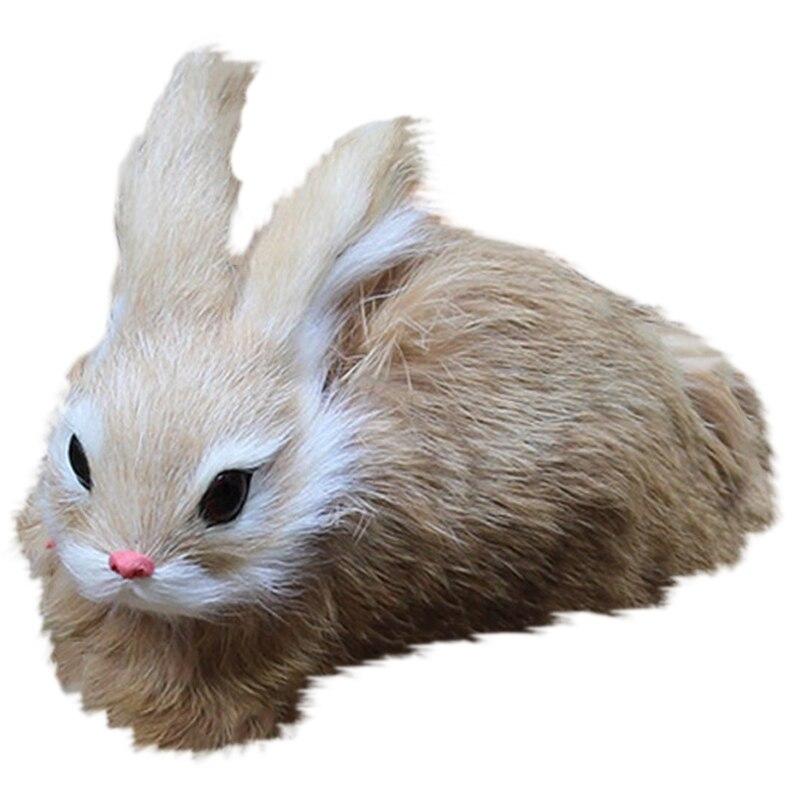 15Cm Mini realista lindo conejo de peluche de piel realista Animal de Pascua conejo simulación de juguete modelo de regalo de cumpleaños Partes niños RC coches alemán Control remoto simulación juguete Tigre tanque para niño Mini regalo