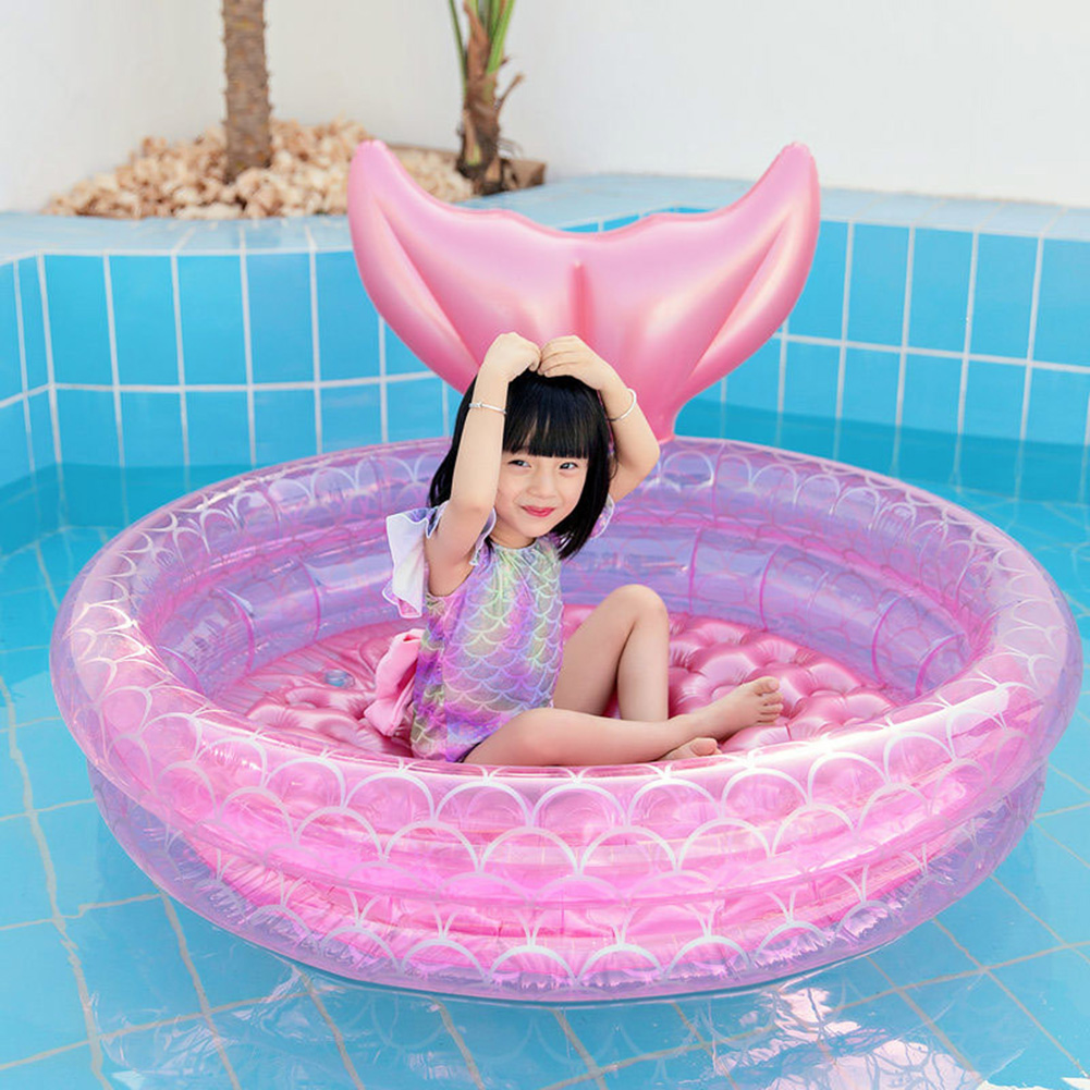 Summer Inflatable Glitter Pool Transparent Inflatable Swimming Mattress Glitter Swim Summer Pool Water Mattress Adult Pool Toys