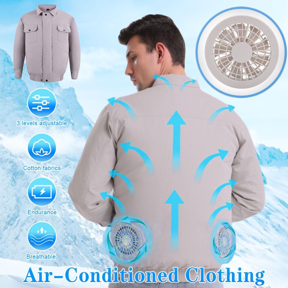 الصيف التبريد تكييف الهواء الملابس مع مروحة الملابس USB شحن مروحة الملابس في الهواء الطلق الصيد الملابس