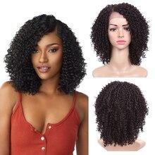14 cal krótkie włosy peruka z kręconych włosów typu Kinky syntetyczna koronka peruka Front peruki afroamerykańskie dla czarnych kobiet złote piękno