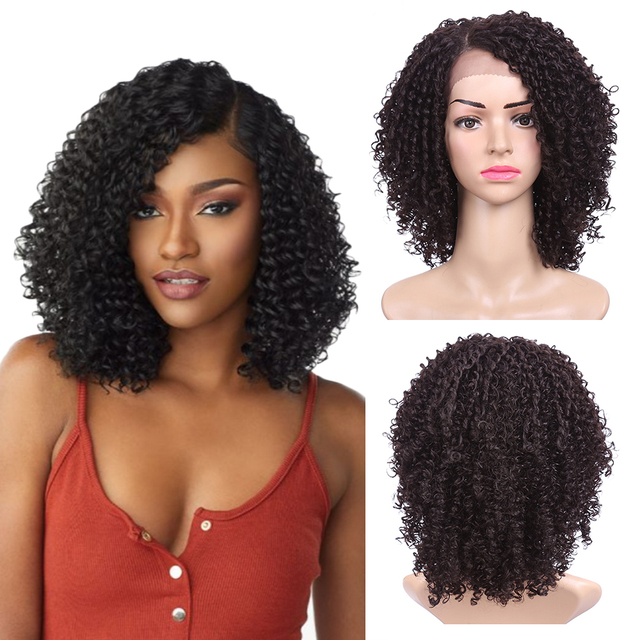14 אינץ קצר שיער קינקי קרלי סינטטי פאת תחרה מול פאה אפריקאי אמריקאי פאות עבור נשים שחורות זהב יופי