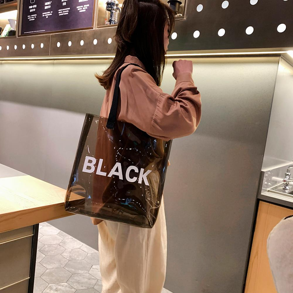 Transparent Women Shopping Bag Portable Holographic Jelly Bag PVC Clear Beach Tote Bag Women Shoulder Beach Travel Handbags