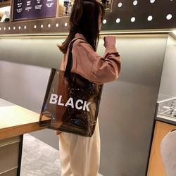 Transparente saco de compras feminino holográfico portátil saco de geléia pvc claro praia tote bolsa de ombro bolsas de viagem de praia