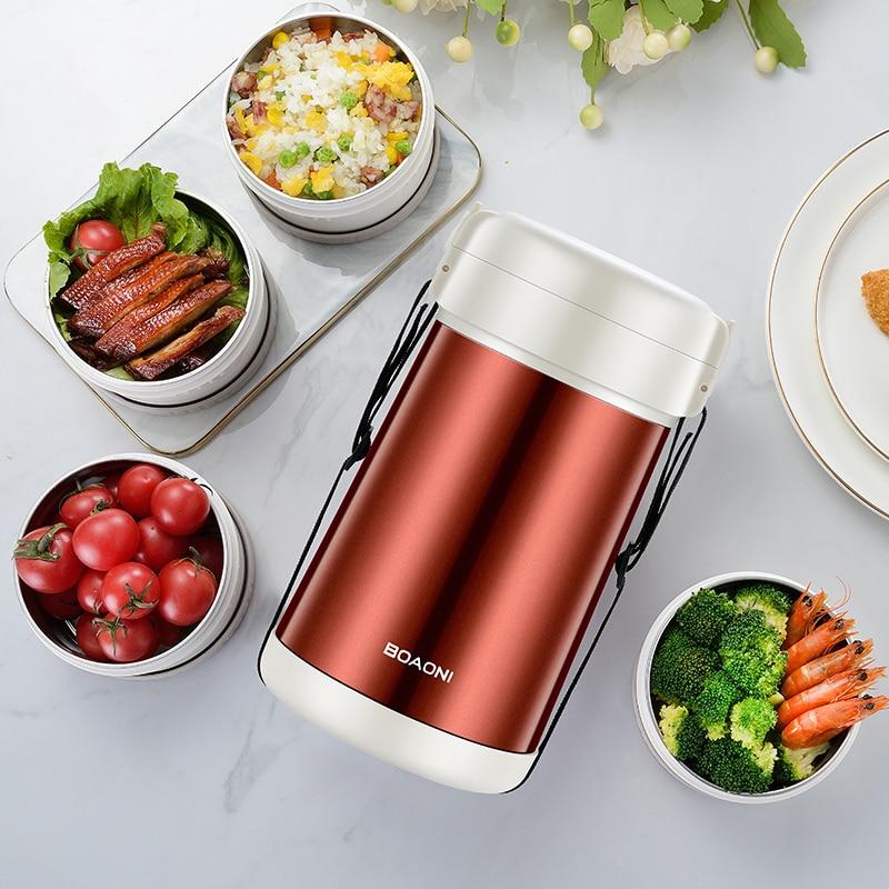 BOAONI 2000 мл пищевой Ланч бокс из нержавеющей стали контейнер для горячего супа вакуумная колба термос изолированный кухонный школьный Ланч бокс es - 5