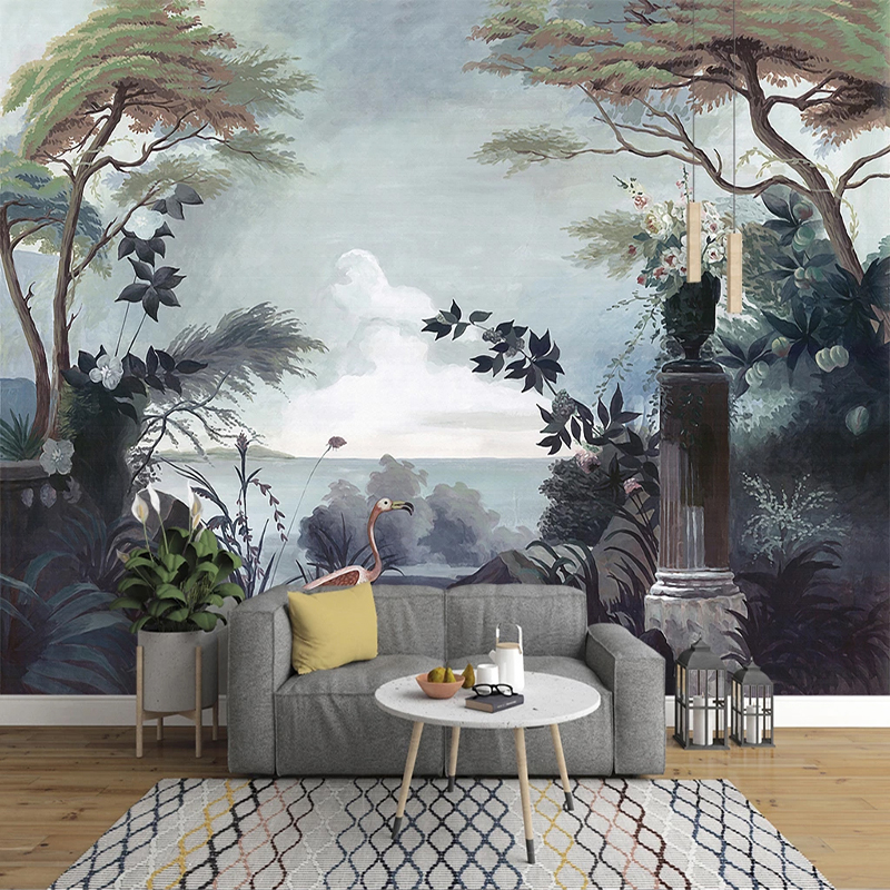 Custom Photo Wallpaper European Style Hand Painted Retro Pastoral Rainforest Mural Modern Art Wall Painting Living Room Decor