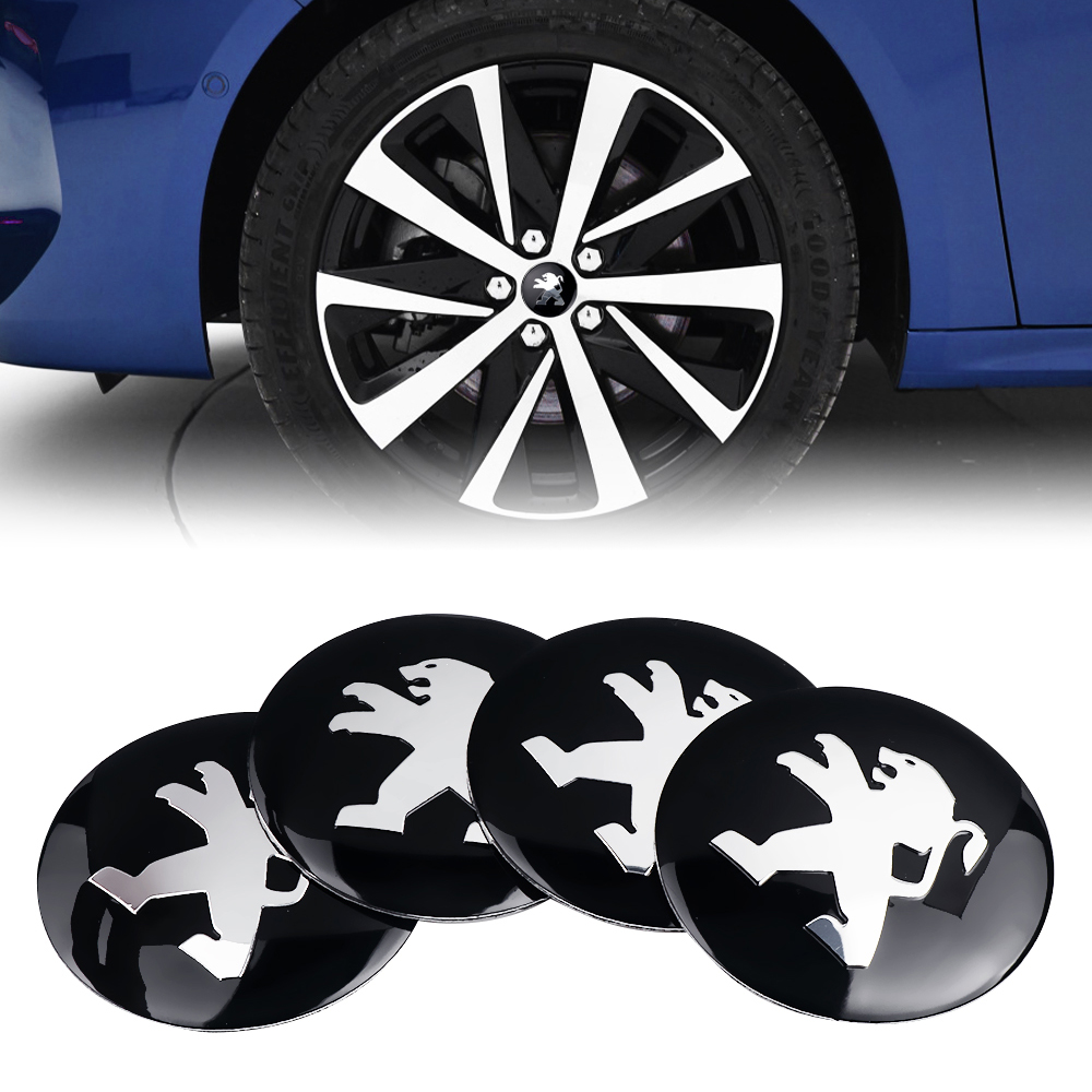 Car Styling 4PCS 56mm Tires Wheel Center Hub Caps Sticker For Peugeot 307 206 308 407 207 3008 208 508 2008 301 408 607 4008