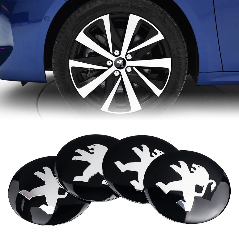 Car Styling 4PCS 56mm Tires Wheel Center Hub Caps Sticker For Peugeot 307 206 308 407 207 3008 208 508 2008 301 408 607 4008