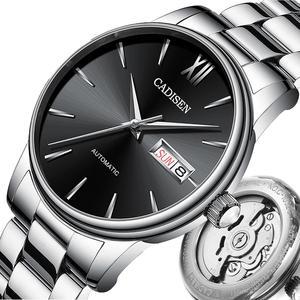 Image 4 - CADISEN Automatic Mens Mechanical Watch Waterproof Week Calendar Double Show Business Gentleman Man Style Steel Band Watch