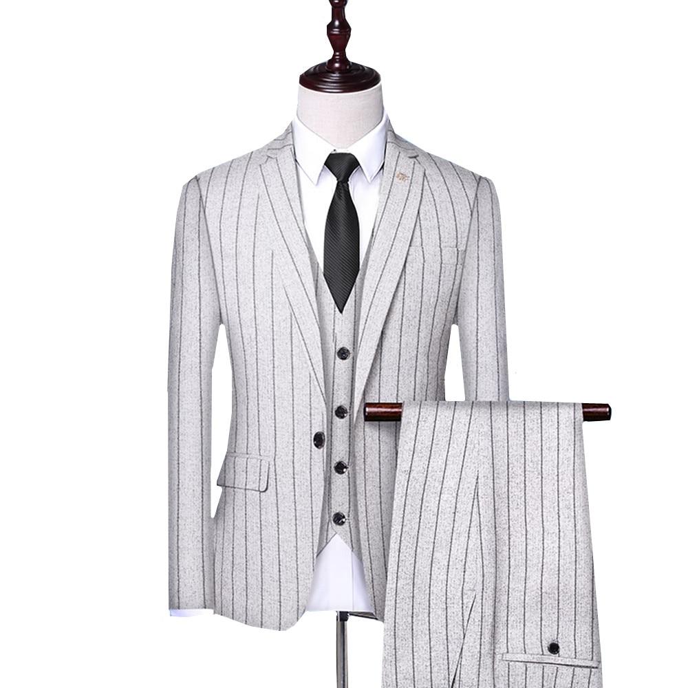 (Jacket +trousers+vest) Men Stripe Wedding Groom Tuxedos Dress Blazer Slim Suit Suits Meale Business Formal Party Classic Suit