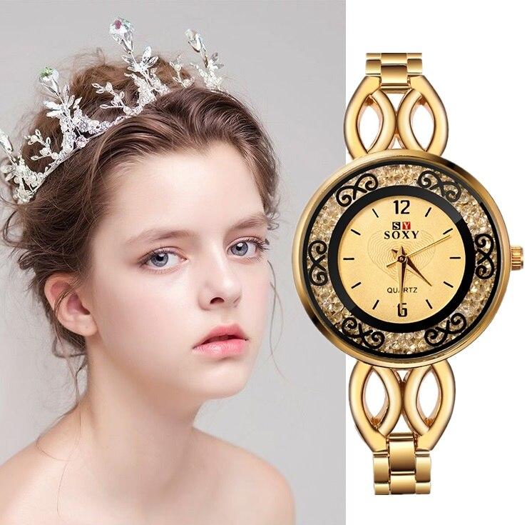 Elegance Fashion Women Watch Rhinestone Stainless Steel Watch Women Bracelet Ladies Wristwatches Crystal Woman Reloj Mujer Clock