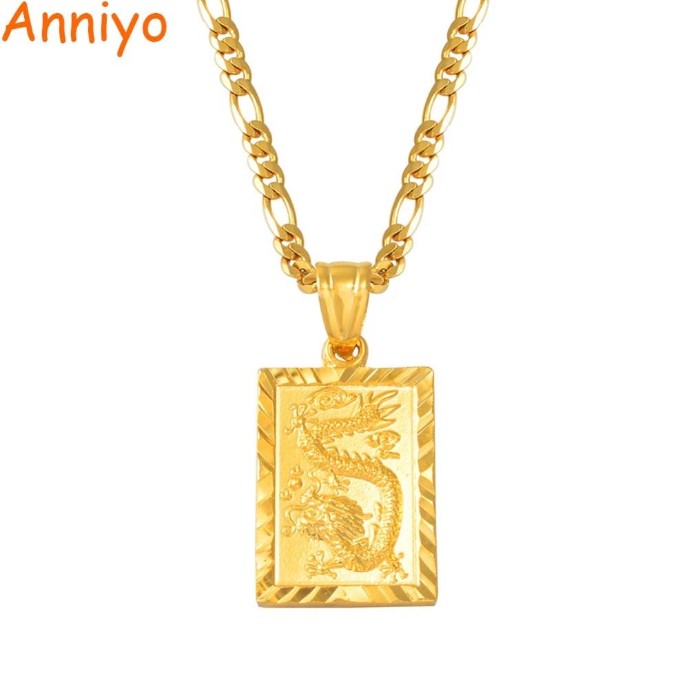 "Anniyo Auspicious Dragon Pendant Neckalces for Women Men Jewelry Chinese""FU"" Blessing Wealth Auspiciousness Longevity #006809(China)"