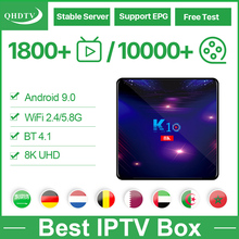 IPTV Belgium Spain Arabic K10 Android box 9.0 4G/64G QHDTV 1 Year Europe dutch 4K8K Media Player No app included