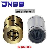 Ensemble de roulements en cuivre graphite linéaire de haute qualité, 4 pièces, 8x15x17mm, bague en cuivre, roulement autolubrifiant, JDB LM8SUU 8mm