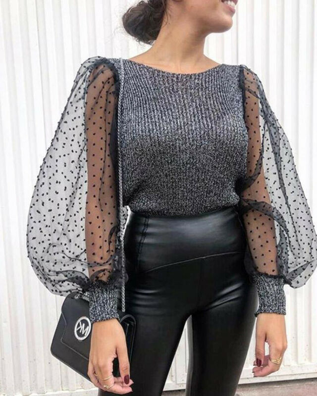 Womens See-through Top Sheer Mesh Slim Fit T-Shirt Lace Organza Ruffled Sleeve Tops Tee Stretch Pullover Top Warm Winter Clothes