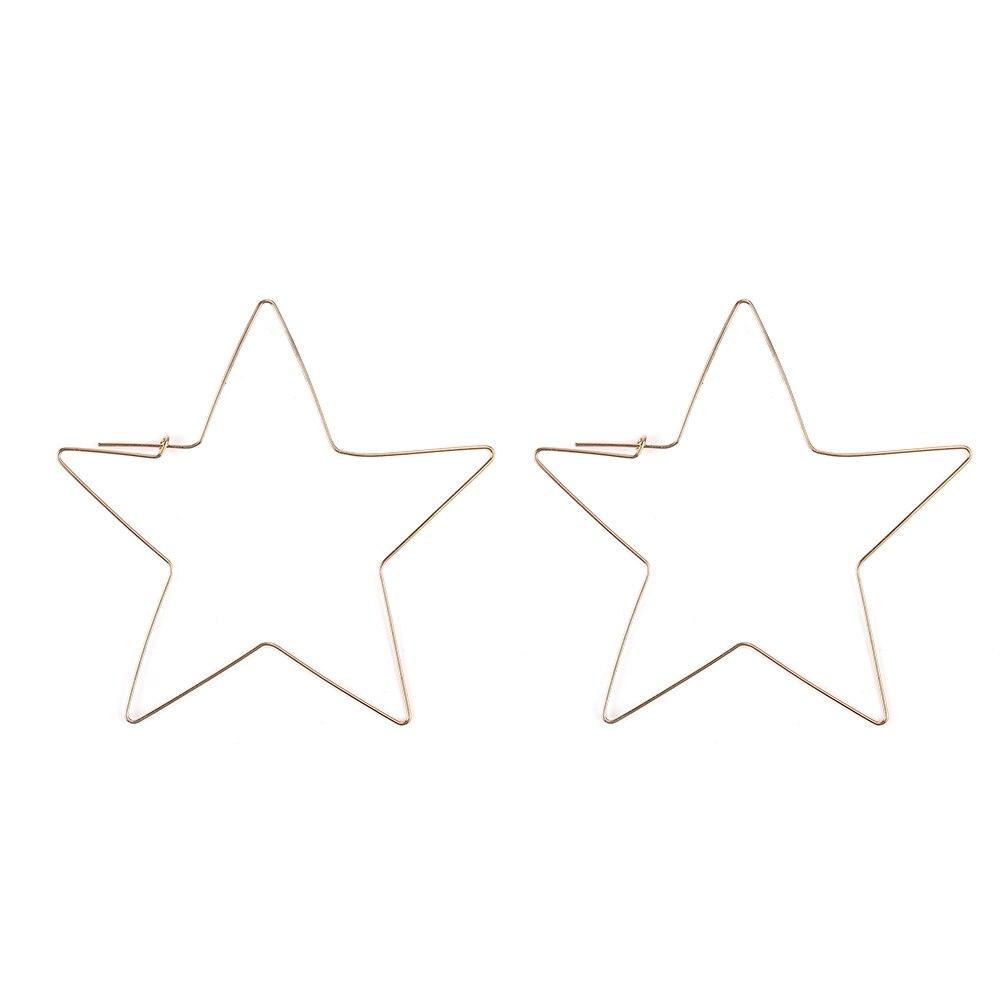 Fashion personality Hyperbole Hollow Simple Large Heart Pentagram Shaped Hoop Earrings Jewelry for Women street trendy decoratio