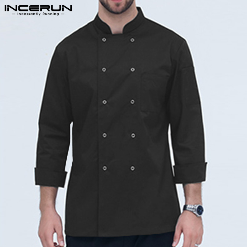 INCERUN Chef Jackets Casual Solid Long Sleeve Double Breasted Kitchen Catering Restaurant Tunic Chef Uniform Unisex Shirts S-5XL