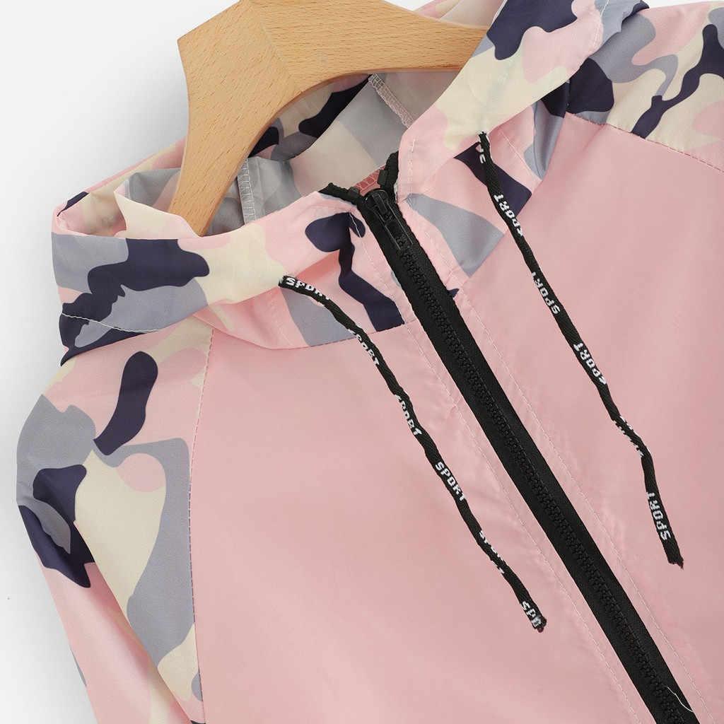 여성 기본 자켓 여성 지퍼 포켓 위장 긴 소매 코트 가을 패치 워크 후드 자켓 캐주얼 스포츠 코트