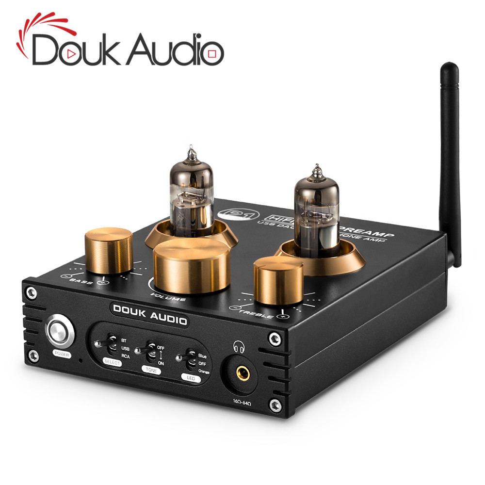 Douk áudio de alta fidelidade bluetooth 5.0 tubo vácuo pré-amplificador usb dac aptx casa áudio estéreo preamp fone ouvido amp