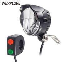 Ebike luz eléctrica para bicicleta entrada de altavoz incorporado 12V 24V 36V 48V 60V 72V lámpara LED 85Lux faros para Scooter Eléctrico