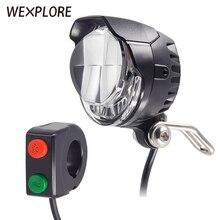 Ebike ضوء كهربائي إضاءة دراجة هوائية المدمج في مكبر الصوت المدخلات 12 فولت 24 فولت 36 فولت 48 فولت 56 فولت LED مصباح 85Lux سكوتر كهربائي المصابيح الأمامية أجزاء
