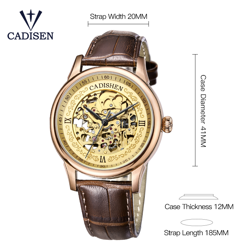 Cadisen Golden Watches Men Skeleton Mechanical Watch Stainless Steel Top Brands Luxury Man Montre Homme Leather Wristwatch