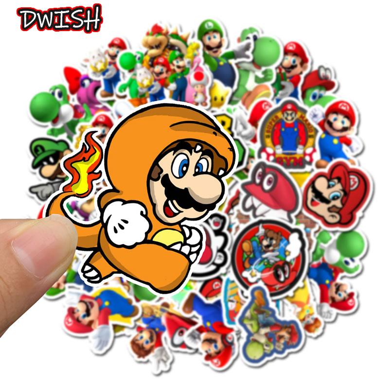 10 30 50pcs Cartoon Super Mario Waterproof Stickers Skateboard Guitar Suitcase Hydroflask Graffiti Sticker Kids Girl