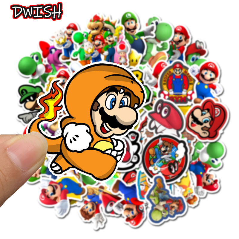 50pcs/Pack Cartoon Super Mario Waterproof Stickers Skateboard Guitar Suitcase Hydroflask Graffiti Sticker Kids Girl Classic Toy