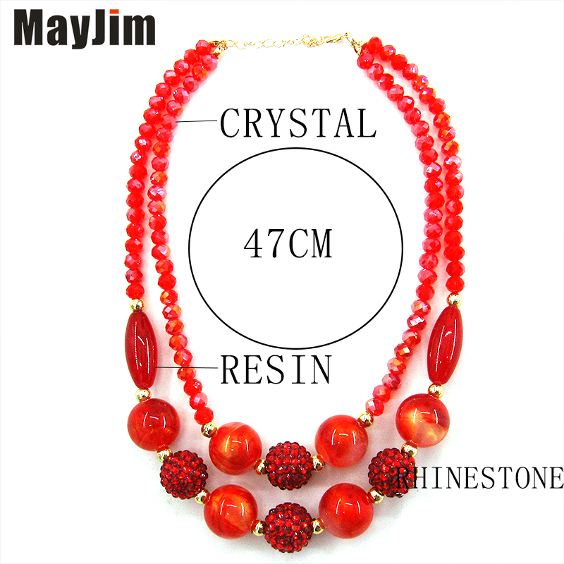 MayJim Statement Vintage Big Choker crystal double bead Chain Necklace Women Natural pattern bohemian Necklaces Pendants Fashion