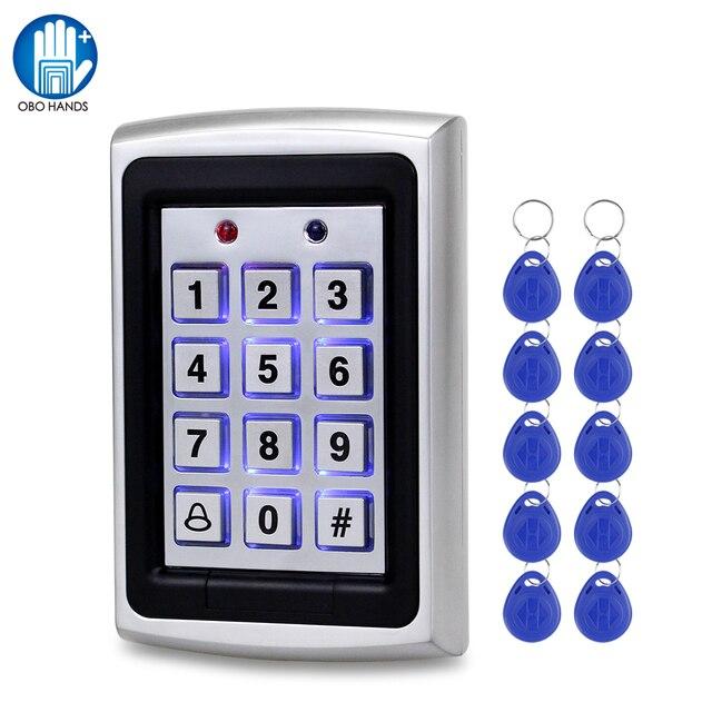 OBO Waterproof Metal Rfid Access Control Keypad Reader Board + 10pcs Key Fobs For RFID Door Access Control System WG26 Backlight