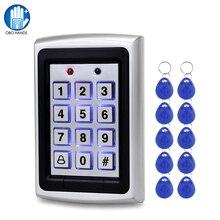 OBO wodoodporna metalowa Rfid czytnik kontroli dostępu z klawiaturą + 10 sztuk breloczki RFID System kontroli dostępu do drzwi WG26 podświetlenie