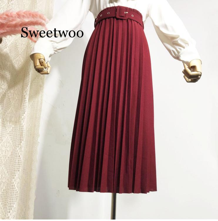 High Waist Women Skirt Casual Vintage Solid Belted Pleated Midi Skirts Lady 11 Colors Fashion