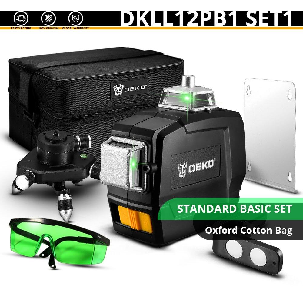 DEKO DKLL12PB1 12 линий 3D зеленый лазерный уровень Горизонтальные и вертикальные поперечные линии с автоматическим самонивелированием, в помещении и на улице - Цвет: DKLL12PB1 SET1