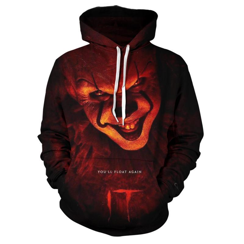Free shipping IT The Clown Pennywise 3D printing Hoodies Cosplay Costume Men Women Cartoon Clown Halloween Sweatshirt
