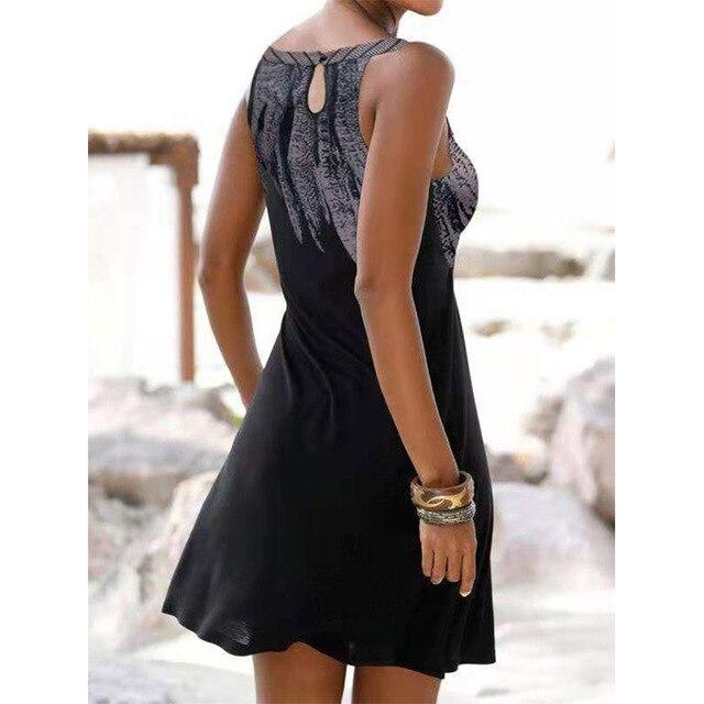 Vestido estampado calado sin mangas para mujer, ropa Sexy informal Vintage para fiesta en la playa, Vestido de cuello redondo Y2k 3