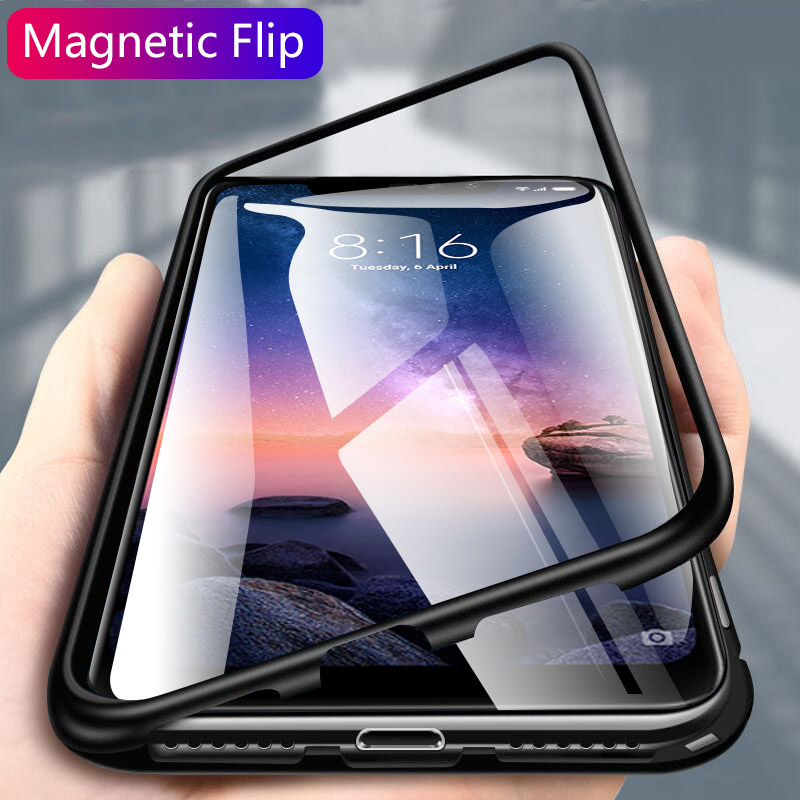 Magnetische adsorption Metall Flip-Cover Für Samsung Galaxy S10 Plus S10e S8 S9 Plus Hinweis 8 9 <font><b>S7</b></font> Rand <font><b>Magnet</b></font> fall Metall Telefon Fall image