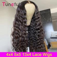 Pelucas con cierre Deep Wave 4x4, pelucas de cabello humano con encaje Frontal prearrancado, brasileño, Remy, malla con división Frontal, 150% T