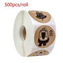 500 шт/рулон рождественские наклейки Рождественская елка Снеговик