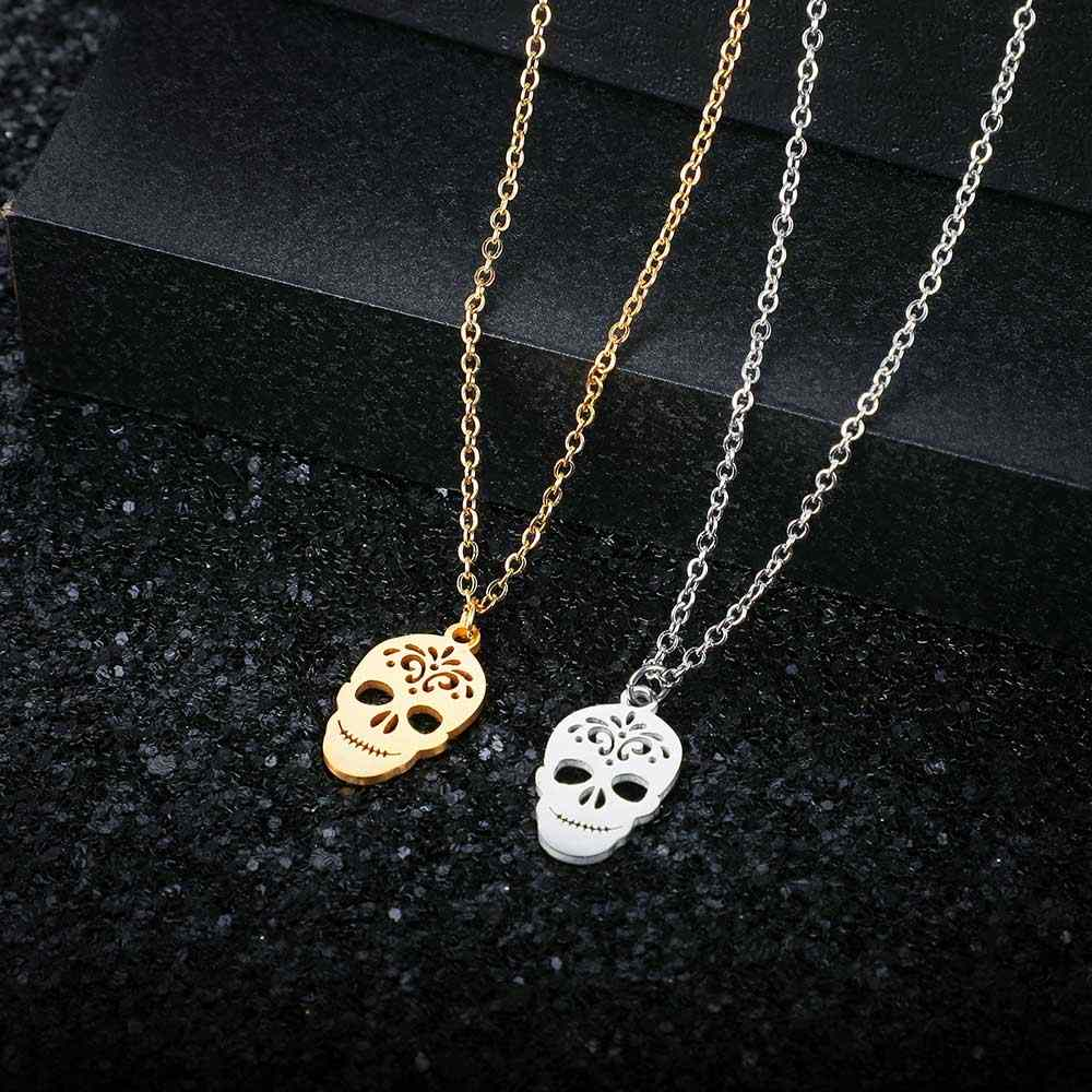 AAAAA Quality 100% Stainless Steel Unique Skull Charm Necklace for Women High Polish Special Gift Never Tarnish Jewelry Necklace