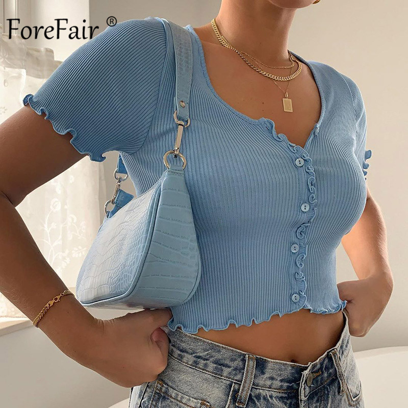 Forefair Short Sleeve Crop Top Women Sexy Knit Button Up Colorful Cute V Neck Slim Solid Ribbed Tank Tops Women