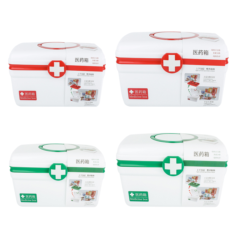 Portable 2 Layer Large First Aid Box Emergency Survival Kit Medical Pill Organizer Rescue Drug Storage For Home Travel Outdoor