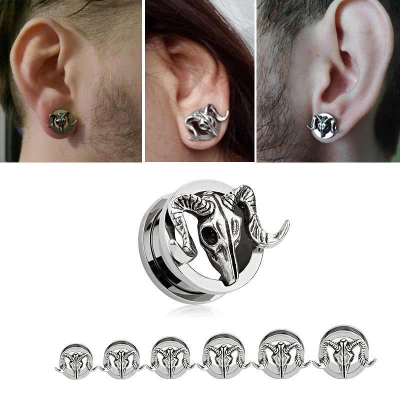 Stainless Steel Skeleton Ear Plug Tunnels Skull Flesh Tunnel Piercing Stretcher Ear Plug