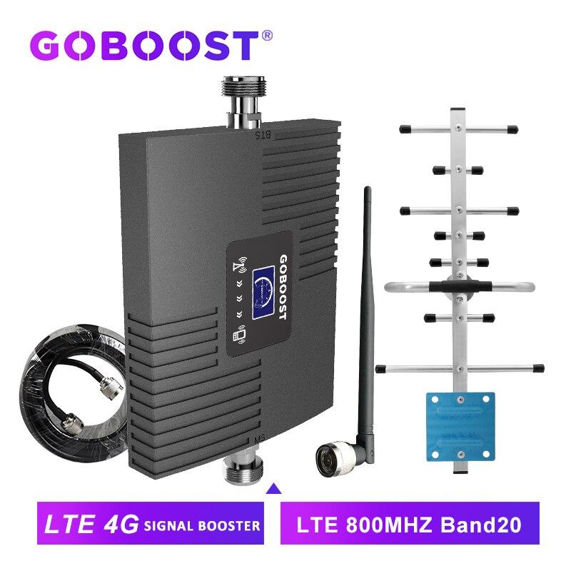 Goboost banda 20 4g internet amplificador lte amplificador celular 4g 800mhz impulsionador de sinal repetidor do telefone móvel 4g antena banda completa